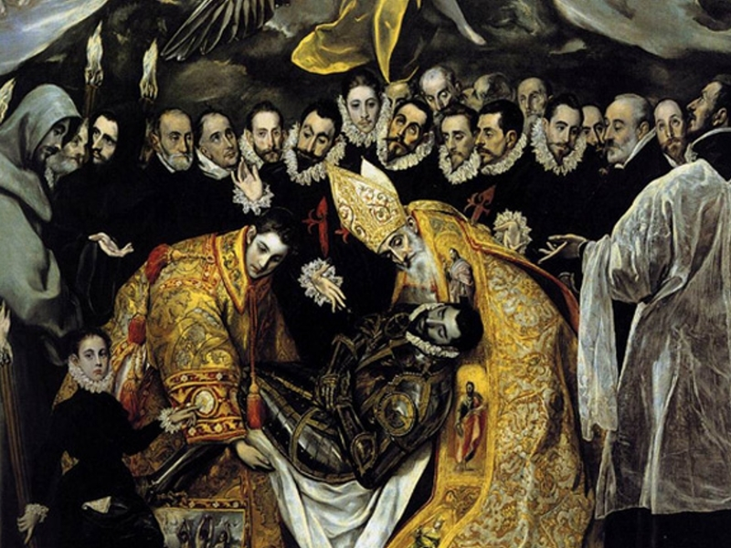 Detalle cuadro del Greco El Entierro del Conde de Orgaz