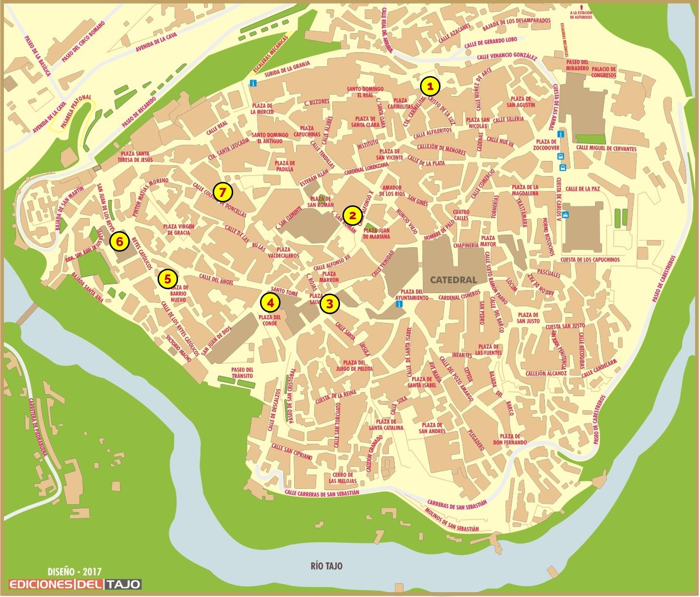 Plano Ruta Pulsera Turística en Toledo