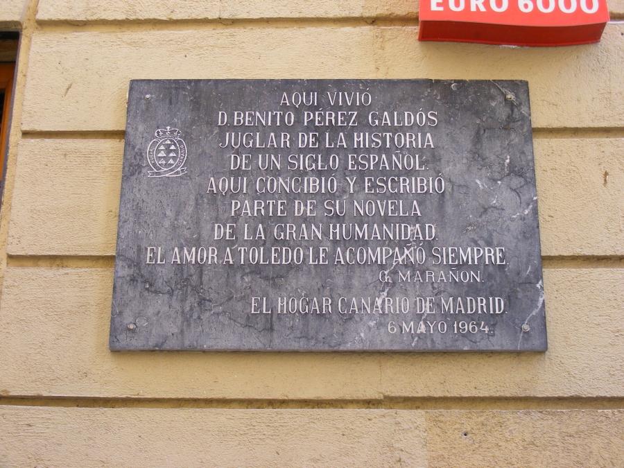 Placa homenaje a Benito Pérez Galdós en Toledo